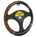 Image for Luxury Black and Wood Effect Steering Wheel Cover
