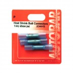 Image for Heat Shrink Butt Connectors 15 Amp Blue Adhesive Lined - Pack 3