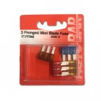 Image for Mini Blade 3 Pronged Fuses 5, 7.5, 10 and 15 Amp - 4 Pack