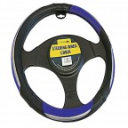 Image for Luxury Black Blue and Chrome Steering Wheel Cover
