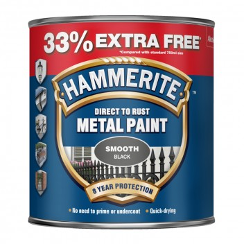 Image for Hammerite Smooth Black Metal Paint - 750ml