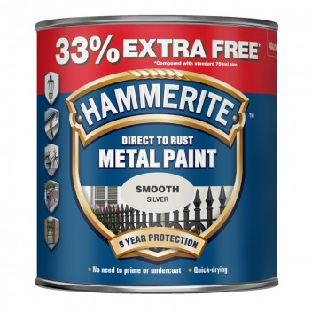 Image for Hammerite Smooth Silver Metal Paint 750ml