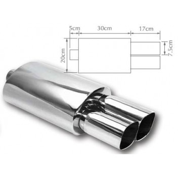 Image for Exhaust Back Box Twin Square Stainless