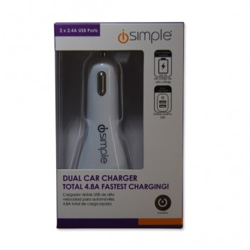 Image for iSimple 2.4A Dual USB Charger - White