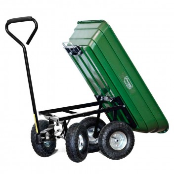 Image for Durable 4 Wheeled Tipping Carry Garden Cart