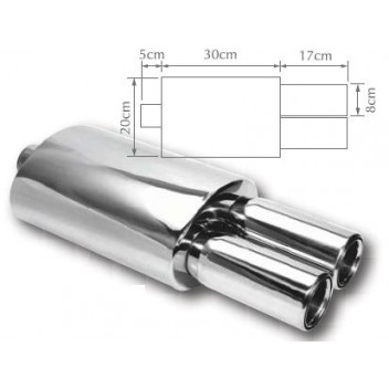 Image for Exhaust Back Box Twin Round Stainless