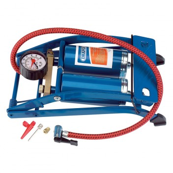 Image for Draper Double Cylinder Foot Pump with Gauge