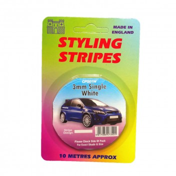 Image for 3mm Styling Stripe - Pin White - 10m