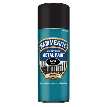Image for Hammerite Metal Paint - Satin - Black - 400ml Aerosol