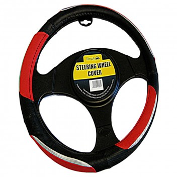 Image for Luxury Black Red and Chrome Steering Wheel Cover
